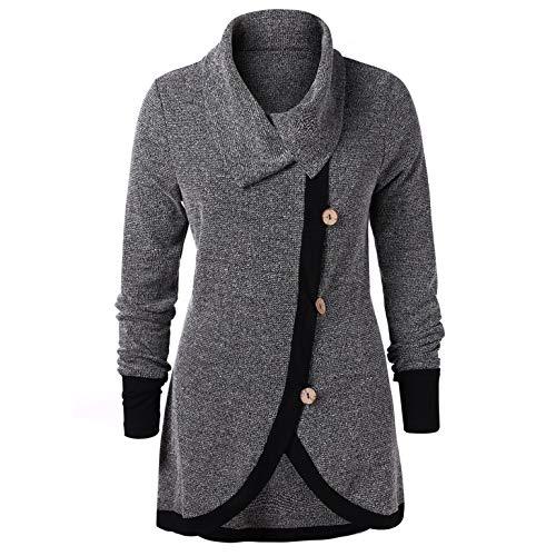 (TIFENNY Plus Size Pullover Women's Contrast Trim Buttons Knit Top Block Color Long Sleeve Hem Sweatshirt Blouse)