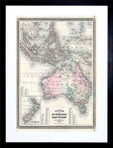 1870 JOHNSON MAP AUSTRALIA EAST INDIES SOUTHEAST ASIA FRAME ART PRINT F12X026