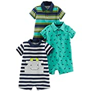 Simple Joys by Carter's Baby Boys' 3-Pack Rompers, Blue Stripe/Turquoise Dino/Grey Navy, 0-3 Months