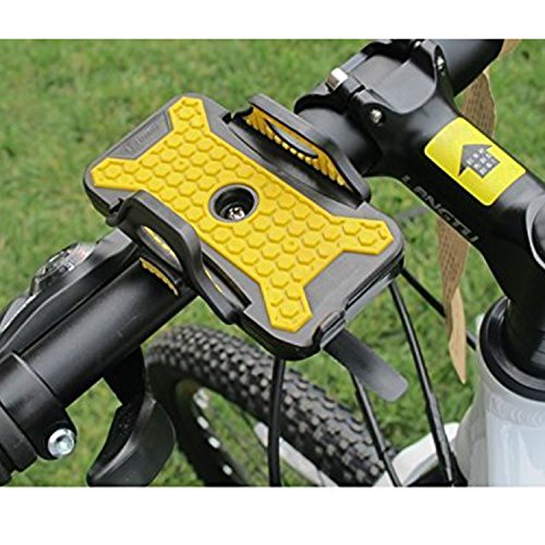 Bike Phone Mount Bicycle Holder - 360 Degrees Rotating Duo Insurance Motorcycle Holder - For Ihone 7 (5, 6, 6s Plus), Samsung Galaxy or Nexus,HTC,LG,BlackBerry, Android Smartphone – M&H (Black+Yellow)