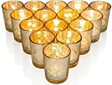 Just Light Candles Pack of 12 Speckled Mercury Glass Votive Candle Holder 2.75'' H - Premium Quality Made in USA - Includes 12, (12 hour burn) Unscented Votive Candles for Romantic Dinners