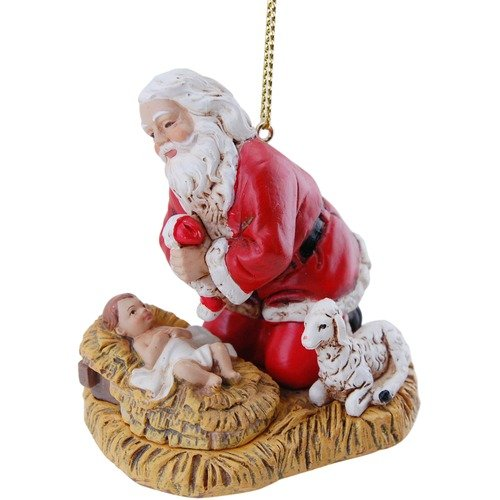 Joseph's Studio Festive Red Kneeling Santa 2.5 inch Resin Stone Decorative Hanging Ornament (Baby Jesus Santa Claus And)