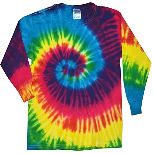 Tie Dye T-shirts Neon Multicolor Reactive Long Sleeve Kids & Adult Size (Large) (Adult T-shirt Neon)