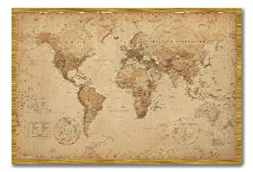 World map poster ye old parchment magnetic notice board oak framed world map poster ye old parchment magnetic notice board oak framed 965 x 66 cms gumiabroncs