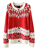 Product review for Lentta Women's Loose Kint Button-up Cardigan Sweater for Christmas Plus Size