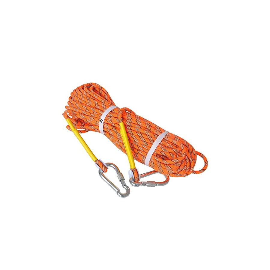 LUOOV Outdoor Climbing Rope 10M(32ft) 20M(64ft) 30M (98ft) 50M (160ft) Safe Utility Rope,Rock Escape Rope,Static Climbing Rope,8mm Diameter Rope