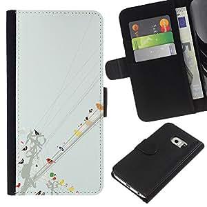 KLONGSHOP // Tirón de la caja Cartera de cuero con ranuras para tarjetas - Aves de la línea de arte colorido Pintura Acuarela - Samsung Galaxy S6 EDGE //