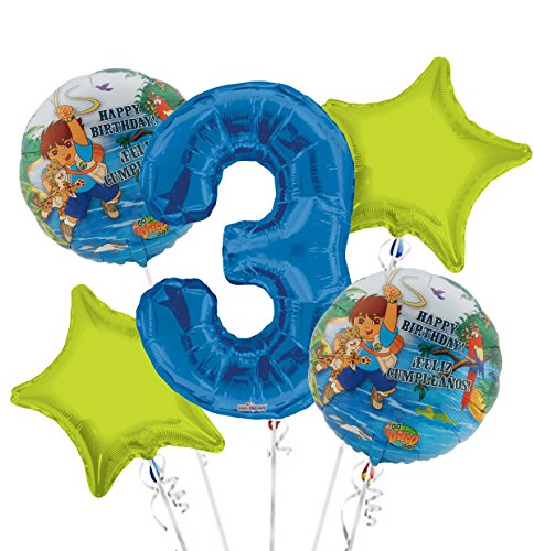 Go Diego Go Balloon Bouquet 3rd Birthday 5 pcs - Party Supplies]()