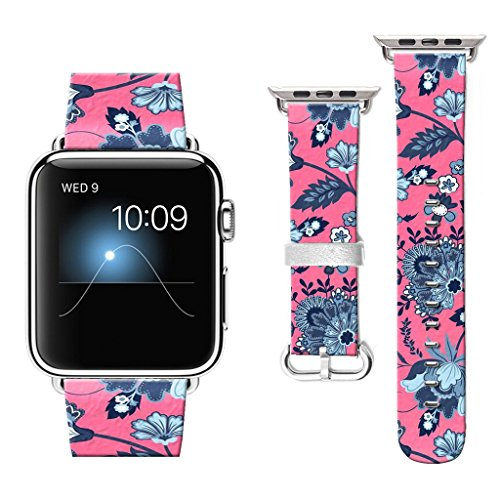 38 mm Apple Watch Band, Watchbands for Apple Watch, Apple Watch Bands Compatible with Apple Watch Nike+ Series 2 Series 1 Sports Edition Retro hibiscus flower