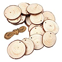 Gosear 20 PCS 5-7cm Natural Wooden Slices Circle Pendant Connectors Ornaments with Hanging String for DIY Projects Jewelry Christmas Craft Making
