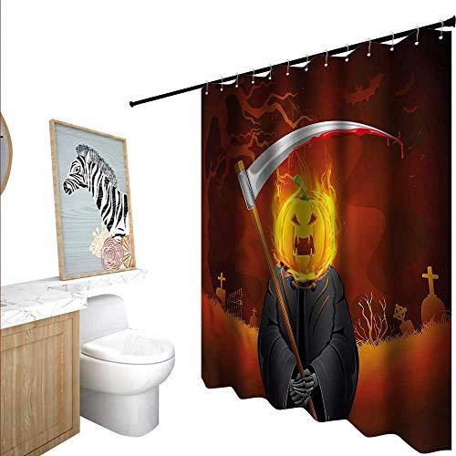 BlountDecor Halloween Shower Curtains Mildew Resistant Grim Reaper Head Spooky 55