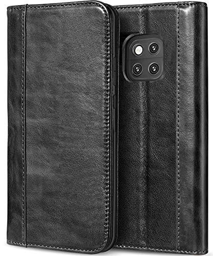 洗剤盗賊不愉快にProCase Huawei Mate 20 Pro 本革ケース ヴィンテージ 財布ケース 折りたたみ フリップケース キックスタンド 複数のカードスロット 磁気閉鎖機能 保護ケース Huawei Mate 20 Pro (2018 発売) –ブラック