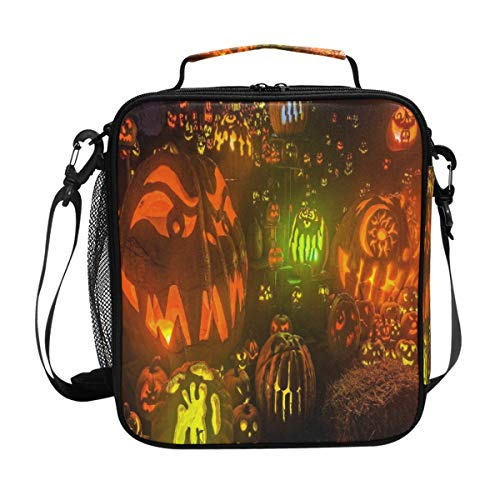 HD Halloween Background Lunch Bag Womens Insulated Lunch Tote Containers Zipper Square Lunch Box for Kids Men Adults Boys Girls