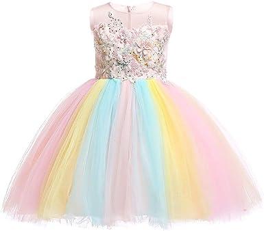 Rainbow Unicorn rainbow Tutu Tulle Dress Handmade Fancy dress Girls Multi colour