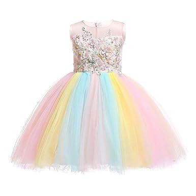 Elegant Colorful Flowers Girls Birthday Party Dresses Children Kids Unicorn Tutu Costume Summer Girl Dressing Up