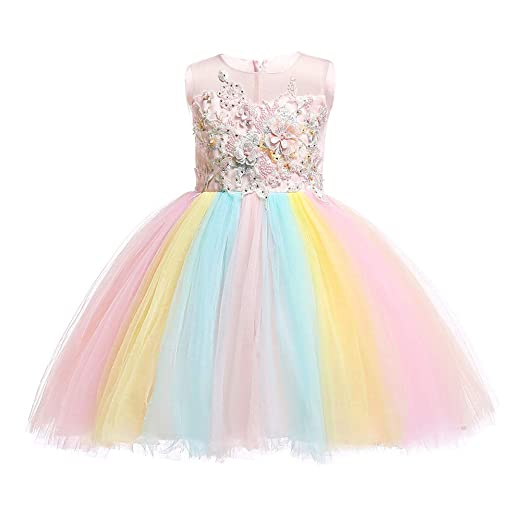 3289690fb056a Girls Rainbow Unicorn Dress up Costume Puffy Tulle Skirt + Horn Headband  Birthday Outfit Wedding Party Dresses for Kids