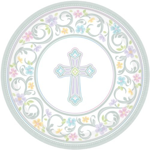 (amscan Silver Blessed Day Round Paper Plates, 18 Ct. | Party)