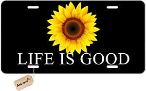 Amcove License Plate Cover Life is Good Sunflower Automotive high Gloss Metal License Plate,Aluminum License Plate, Front License Plate - 6