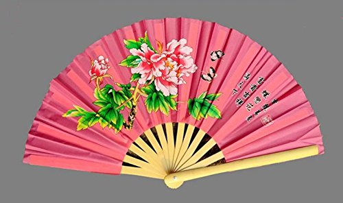 (School dedicated foot bamboo bone Tai Chi Kung Fu Fan Fan Fan bamboo bow Cardiff fan peony fan loud fan Lotus (33cm, Pine))