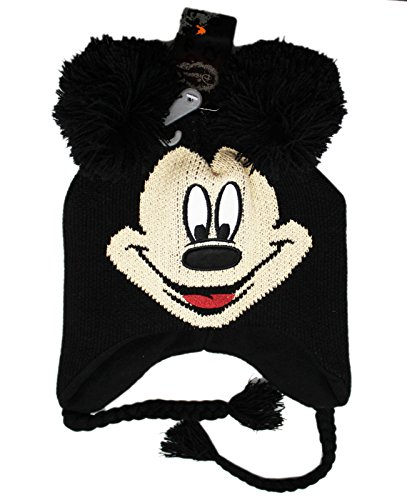 Disney Characters For Adults (Mickey Mouse Disney Character Adult Black Winter Knit with Poms Laplander Hat)