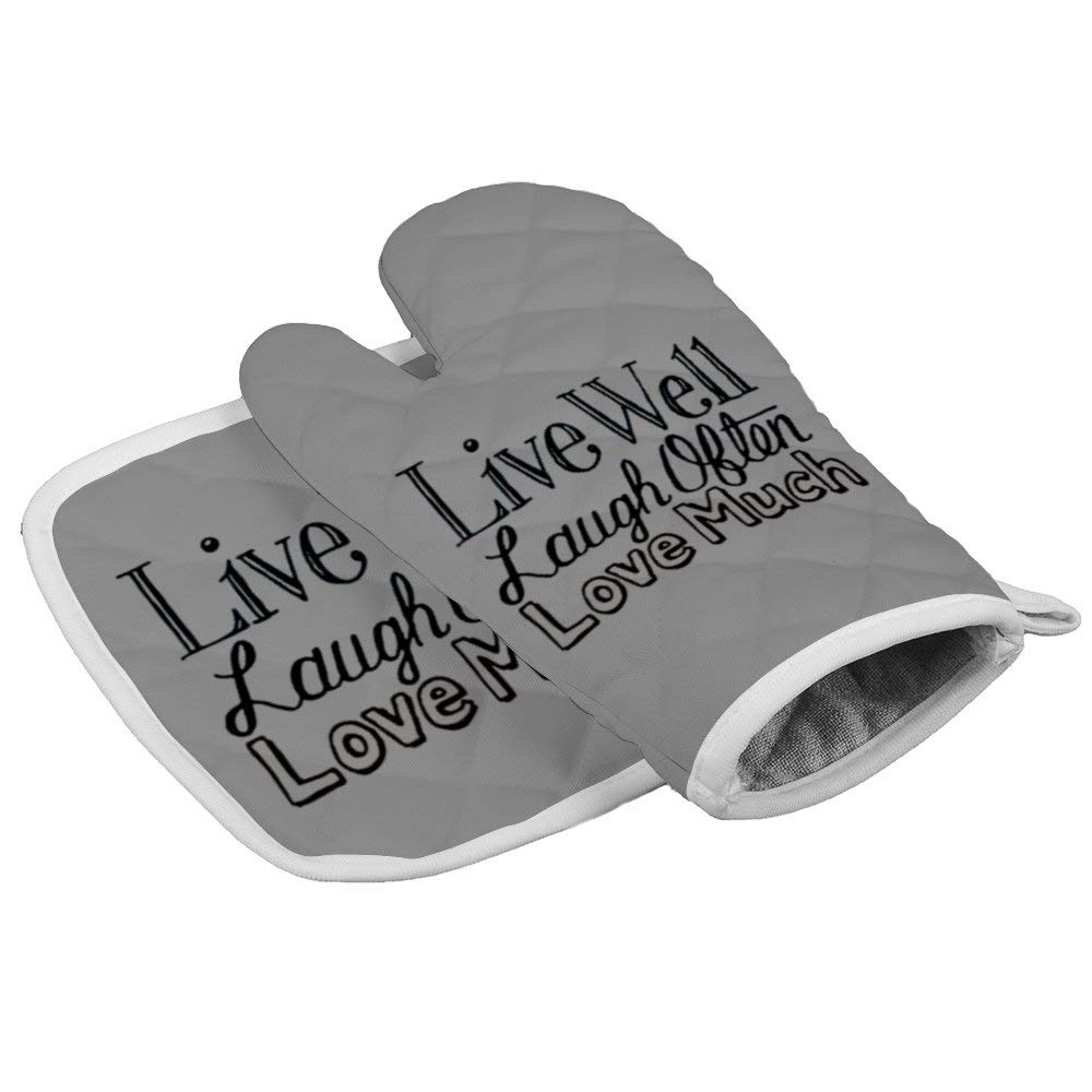 Live Laugh Love Quotes Durable Oven Gloves Microwave Gloves Barbecue Gloves Kitchen Cooking Bake Heat Resistant Gloves Combination