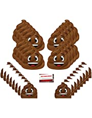Poop Emoji Party Supplies Bundle Pack for 16 guests (Plus Party Planning Checklist by Mikes Super Store)