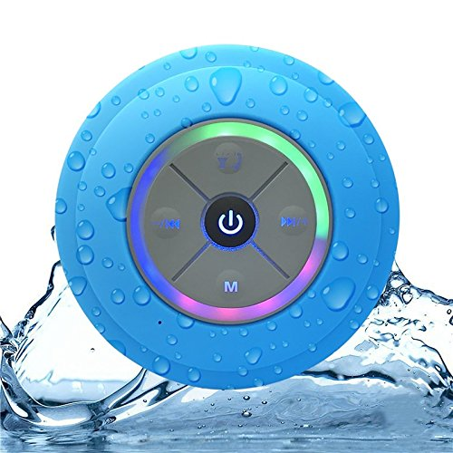 Portable Bluetooth Shower Speaker with Color Changing LED Lights. IPX4 Water Resistant with Removable Suction Cup, Handsfree Speakerphone, MicroSD Slot for Local Playback & FM Radio! Great Gift!