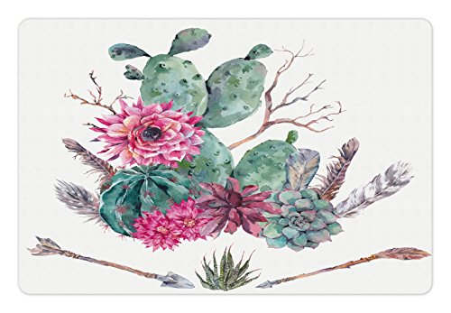 Ambesonne Cactus Pet Mat for Food and Water, Exotic Natural Vintage Style Watercolor Bouquet Bohemian Arizona Vegetation, Rectangle Non-Slip Rubber Mat for Dogs and Cats, Green Pink Brown by Ambesonne