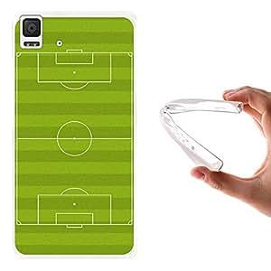 WoowCase - Funda Gel Flexible { bq Aquaris E4.5 } Campo de Fútbol Deporte Carcasa Case Silicona TPU Suave