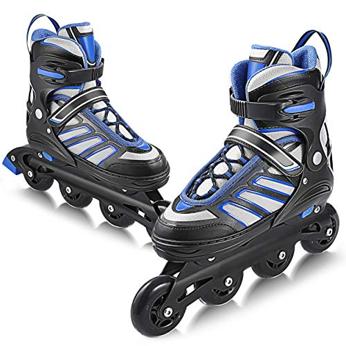 WeSkate Inline Skates Roller Shoes with Adjustable Size and Light up Wheel Fun Flashing for Boys Girls Toddlers Kids Children Men Women Adults Size 5 6 7 8 9 10 11 12 (Skates Women Size 11 Roller Adult)