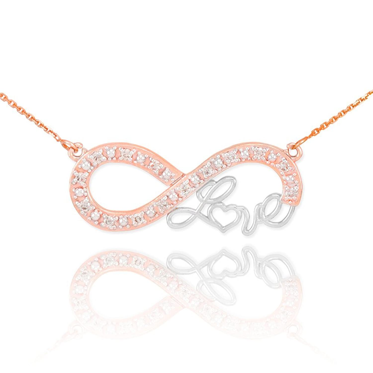 Forever 14k Two-Tone Rose Gold Love Script Diamond Infinity Pendant Necklace