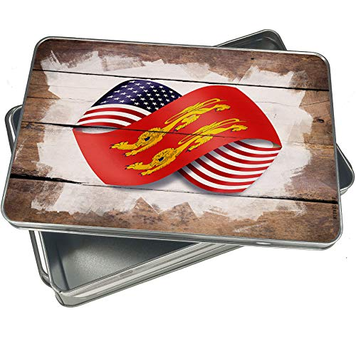 NEONBLOND Cookie Box Infinity Flags USA and Basse-Normandie region France Christmas Metal Container