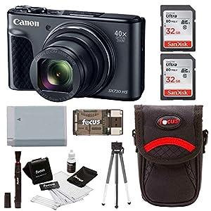 Canon Powershot SX730 Digital Camera (Black) with 64GB Kit + Battery + Bundle