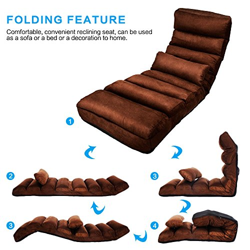 51MuNkVMs%2BL - E-More-Home-Adjustable-Folding-Lazy-Sofa-Floor-Sofa-Chair-Stylish-Sofa-Couch-Beds-Lounge-Chair-with-Pillow