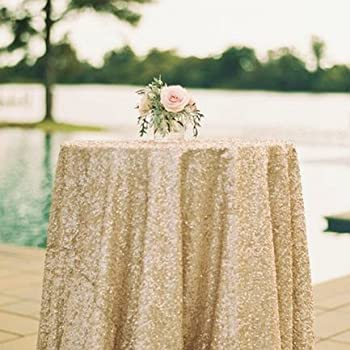 50u0027u002750u0027u0027 Square Matte Gold Sequin Tablecloth Select Your Color U0026 Size