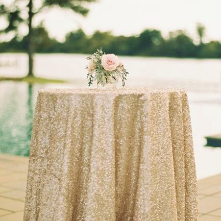 50''50'' Square Champagne Sequin Tablecloth Select Your Color & Size Can Be Available ! Sequin Overlays, Runners, Gatsby Wedding, Glam Wedding Decor, Vintage Weddings (Matte Gold (Gold Wedding)