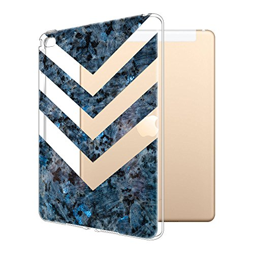 (FINCIBO Case Compatible with Apple iPad Air 2 Ultra-Clear Silicone, Super Slim Scratch-Resistant Shock Absorbing Transparent TPU Cover Case for iPad Air 2 Tablet, Arrowhead Blue Pearl Marble)