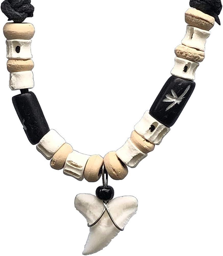 Hawaiian Polynesian Maori Surfer Beach Tribal Surfing Jewelry Real Shark tooth w white bone wooden bead Protection Amulet boy's kid's pendant necklace Luck Charm Talisman choker Black Adjustable Cord