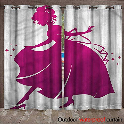 cobeDecor Princess 0utdoor Curtains for Patio Waterproof Glass Slipper Kids Tale W84 x L96(214cm x 245cm)