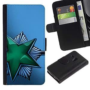 Ihec-Tech / Flip PU Cuero Cover Case para Samsung Galaxy S3 MINI NOT REGULAR! I8190 I8190N - Green Shiny Star Soviet