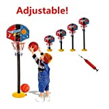 Elloapic Kids Mini Adjustable Basketball Hoop Elevated Type Basketball stand Basketball Game Sports Toy- Indoor Outdoor Fun Sports Novelty Toy With one basketball and one inflator