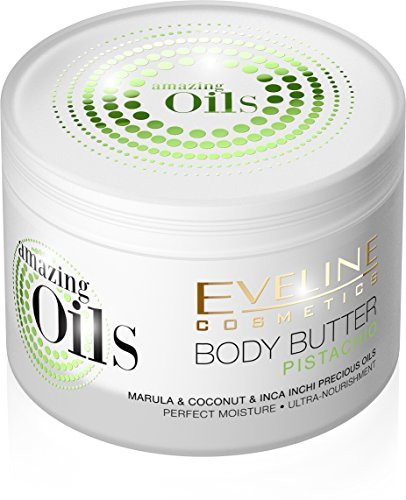Eveline Cosmetics Amazing Oils Pistachio Body Butter, lotion, cream for Dry and Dehydrated or Irritated Skin with Urea, Coconut oil, Inca inchi oil and Marula oil 200 ml from Eveline Cosmetics