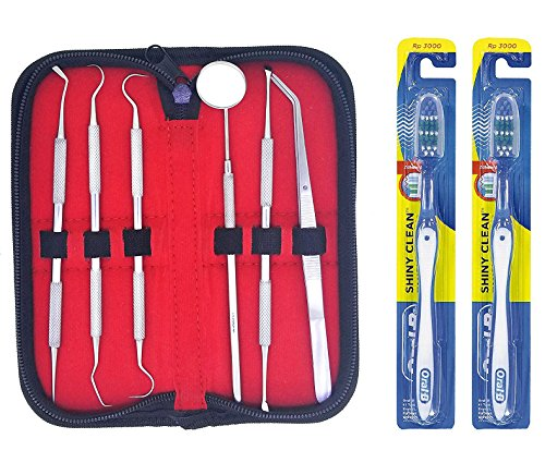 Tartar and Bad Breath 9 PC Dental Hygiene Tool Kit - Includes Tweezer, Scraper, Scaler, Mirror Probe and 2 ORAL B Tooth Brush Ideal for Professional and Personal Use.Great Holiday Gift ()