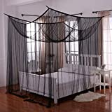 Heavenly 4-Post Bed Canopy, Black