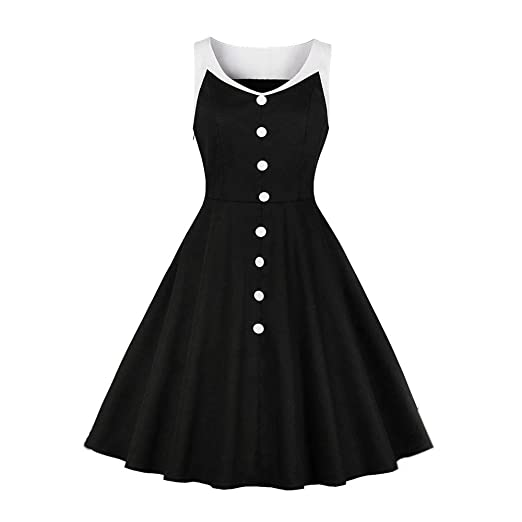 da14ecfcc 1950 s Dresses for Women Girls Vintage Solid V Neck Buttons Up Rockabilly  Retro Cocktail Party Swing