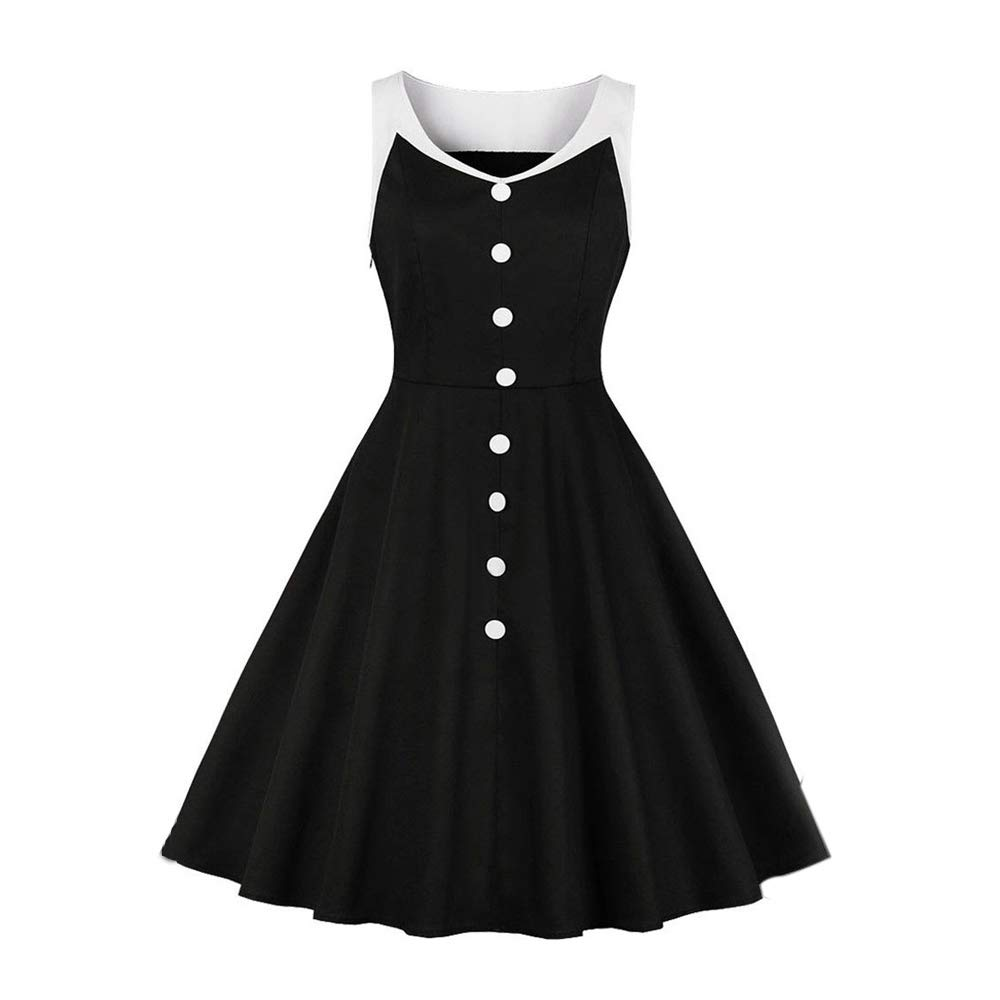 1950's Dresses for Women Girls Vintage Solid V Neck Buttons Up Rockabilly Retro Cocktail Party Swing Dress (Black, L)