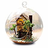 Diy Kitchen Island Flever Dollhouse Miniature DIY House Kit Creative Room With Furniture and Glass Cover for Romantic Artwork Gift (Forest Dream Island)