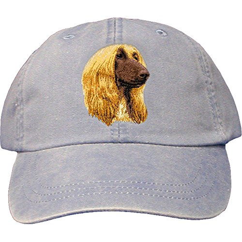 Cherrybrook Dog Breed Embroidered Adams Cotton Twill Caps - Periwinkle - Afghan Hound