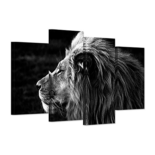 Lion Head Pictures - Hello Artwork - 4 Panel Wall Art Black And White Gray Lion Head Portrait The Picture Animal Lion King Framed For Home Decoration Gift Ready To Hang