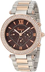 Freelook Women's HA1539RGM-2 Brown Chronograph Dial Rose Gold Swarovski Bezel Watch